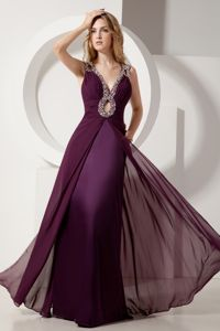 Fashionable Dark Purple V Neck Beaded Floor Length Chiffon Graduation Dress in Sale