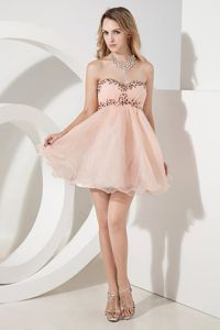 Sweetheart Baby Pink Beaded Mini-length Pretty Graduation Dresses in Wangaratta