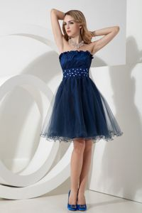 Strapless Navy Blue Beaded Knee-length Prom Dress for Graduation in Dandenong