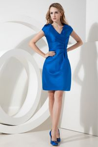 V Neck Royal Blue Ruched Knee-length University Graduation Dresses in Port Adelaide