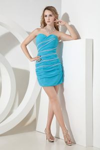 Sweetheart Aqua Blue Beaded Ruched Mini-length Graduation Dresses in Launceston
