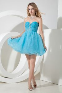 Sweetheart Aqua Blue Beaded Ruched Short Graduation Dresses in Devonport, TAS