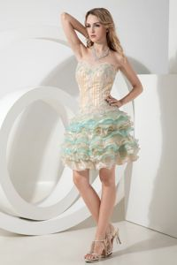 Qualified Sweetheart Champagne Ruffled Beaded Mini-length Dresses for Graduation