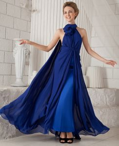 Halter Royal Blue Ruched Chiffon Evening Dress for Graduation with Watteau Train