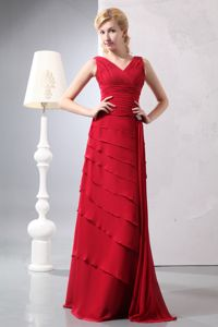 Latest Red V Neck Ruched Ruffled Floor-length Formal Graduation Dresses in Whyalla