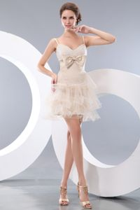 Exquisite Hand Flowery Straps Short Champagne Graduation Dresses in Launceston