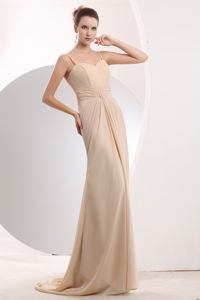 Champagne Straps Ruched Brush Train Graduation Ceremony Dress in Devonport