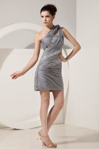 Grey One Shoulder Beaded Ruched Short Formal Graduation Dresses in Devonport