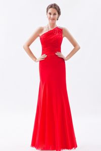 One Shoulder Beaded Floor Length Red Prom Dresses for Graduation in Logan City