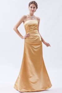 Exclusive Strapless Champagne Ruched Floor-length Graduation Dresses in Cairns