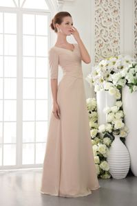 Champagne Half Sleeves V Neck Beaded Formal Graduation Dresses in Gladstone
