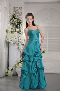 Straps Teal Ruched Beaded Graduation Ceremony Dress with Pick Ups in Mackay