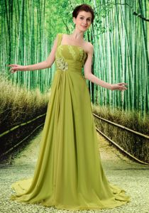 Olive Green One Shoulder Appliqued Beaded Elegant Evening Dresses for Graduation