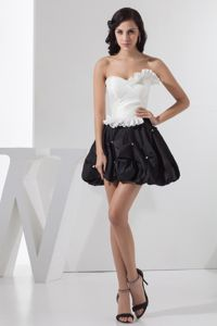 Sweetheart White and Black Beaded Ruffled Mini-length Grad Dress in Caloundra