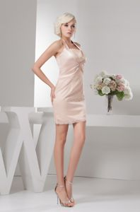 Elegant Halter Ruched Min-length Champagne Graduation Outfits in Wollongong
