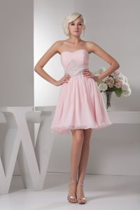 Sweet Baby Pink Sweetheart Beaded Ruched Graduation Dresses in Parramatta