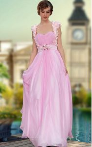 Hot Selling Floor Length Zipper Quinceanera Gowns Rose Pink for Prom and Party with Belt and Hand Made Flower