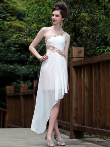 Deluxe Ankle Length White Sweet 16 Quinceanera Dress One Shoulder Sleeveless Side Zipper