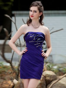 Excellent Ball Gowns Teens Party Dress Royal Blue Strapless Chiffon Sleeveless Mini Length Backless