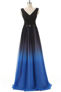 V-neck Sleeveless Brush Train Lace Up 15th Birthday Dress Blue And Black Chiffon