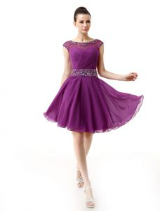 Dark Purple A-line Scoop Cap Sleeves Silk Like Satin Mini Length Side Zipper Beading and Ruffles Ball Gown Prom Dress