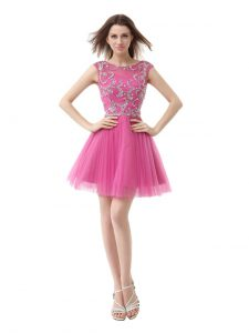 Scoop Rose Pink Zipper Quinceanera Gown Beading and Sequins and Pleated Cap Sleeves Mini Length