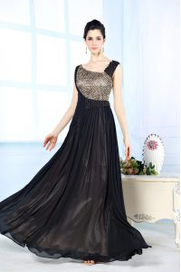 Flare Black Column/Sheath Beading Quince Ball Gowns Side Zipper Chiffon Sleeveless Floor Length
