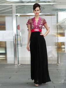 Simple Red And Black Chiffon Zipper Quinceanera Gown Short Sleeves Ankle Length Appliques and Ruching