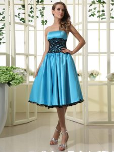 Customized Baby Blue Zipper Quince Ball Gowns Lace Sleeveless Tea Length