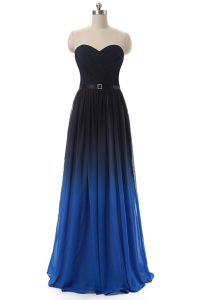 Beauteous Blue And Black Sweetheart Lace Up Ruching and Belt Quinceanera Gowns Sleeveless