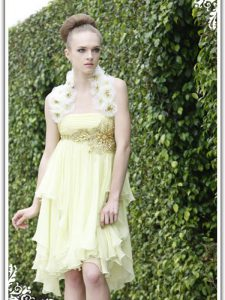 Vintage Organza Strapless Sleeveless Backless Beading and Appliques 15th Birthday Dress in Light Yellow
