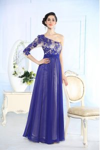 One Shoulder Long Sleeves Sweet 16 Dress Floor Length Beading and Appliques Blue Chiffon