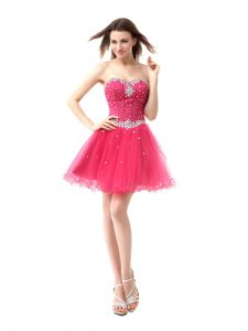 Sleeveless Lace Up Knee Length Beading Quinceanera Dresses
