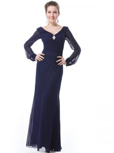V-neck Long Sleeves Side Zipper Vestidos de Quinceanera Navy Blue Organza