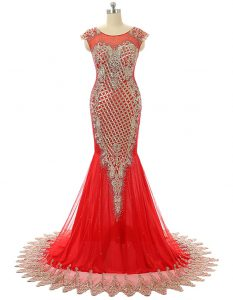 Sweet Scoop Red 15 Quinceanera Dress Satin Brush Train Sleeveless Beading and Lace