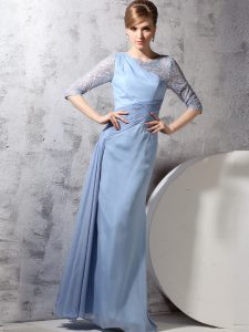 Light Blue Chiffon Zipper Scoop Half Sleeves Ankle Length Vestidos de Quinceanera Beading and Ruching
