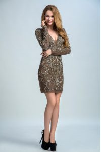 Brown Organza Backless 15th Birthday Dress Long Sleeves Mini Length Sequins