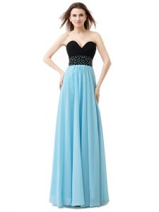 Sweetheart Sleeveless Lace Up Quinceanera Gowns Blue And Black Chiffon and Sequined