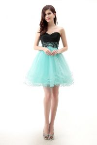Fabulous Lace Sweet 16 Dress Blue And Black Zipper Sleeveless Mini Length