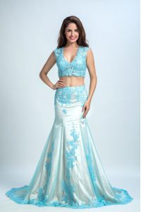 Fabulous Mermaid With Train Zipper Quinceanera Dresses Blue And White for Prom with Beading and Pattern Brush Train