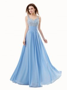 Modest Blue Sleeveless Floor Length Beading Side Zipper Quinceanera Dress
