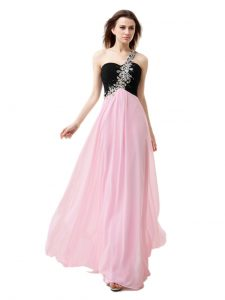 Unique Pink And Black Sweet 16 Dresses Prom with Beading and Appliques and Ruffles One Shoulder Sleeveless Zipper