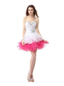 Pink And White Sleeveless Beading and Ruffles Knee Length Quinceanera Gowns