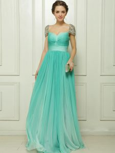 Noble Turquoise Zipper Sweetheart Beading and Ruching Quinceanera Dresses Chiffon Cap Sleeves