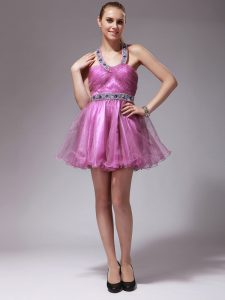 Halter Top Rose Pink Sleeveless Beading Mini Length Quinceanera Dress