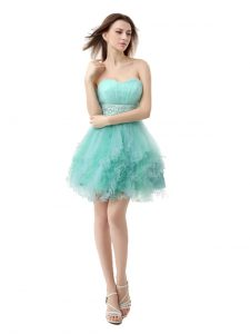 Enchanting Turquoise A-line Organza Sweetheart Sleeveless Beading and Ruffled Layers Mini Length Zipper Vestidos de Quinceanera