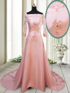 Square Long Sleeves With Train Beading and Appliques Zipper 15 Quinceanera Dress with Peach Brush Train