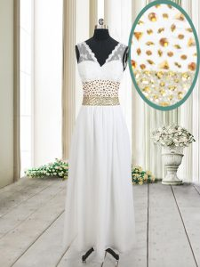 Sophisticated White Sweet 16 Dresses Prom with Beading and Belt V-neck Sleeveless Zipper