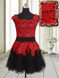 Low Price Square Sleeveless Zipper Ball Gown Prom Dress Red And Black Tulle