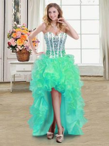 Fitting Turquoise Organza Lace Up Sweetheart Sleeveless High Low Ball Gown Prom Dress Beading and Ruffles
